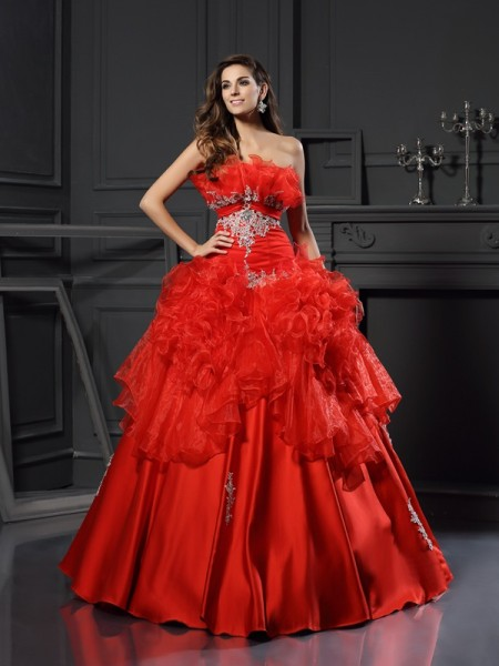 Ball Gown Strapless Sleeveless Organza Floor-Length Prom Dresses with Ruffles