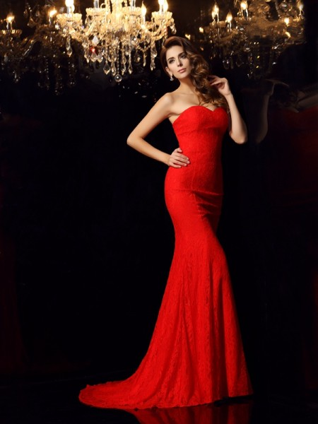 Trumpet/Mermaid Sweetheart Sleeveless Court Train Lace Prom/Evening Dresses