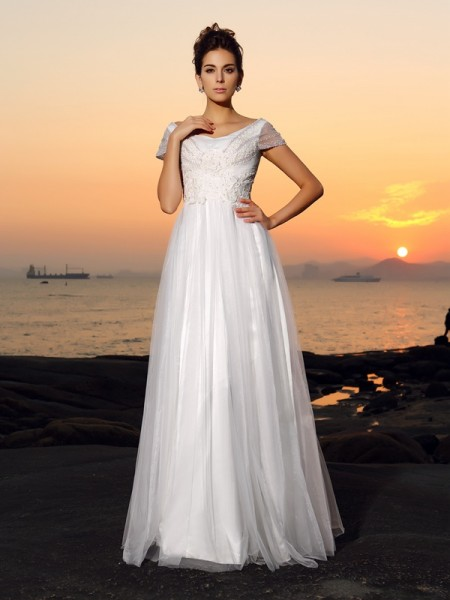 A-Line/Princess Short Sleeves Off-the-Shoulder Tulle Floor-Length Beach Wedding Dresses with Beading