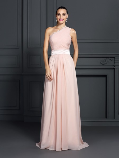 A-Line/Princess One-Shoulder Sleeveless Sweep/Brush Train Chiffon Prom/Evening Dresses with Ruffles