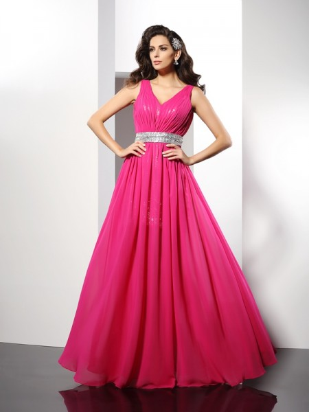 A-Line/Princess V-neck Paillette Sleeveless Floor-Length Chiffon Evening/Formal Dresses