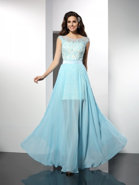 A-Line/Princess Bateau Chiffon Long Dresses with Applique