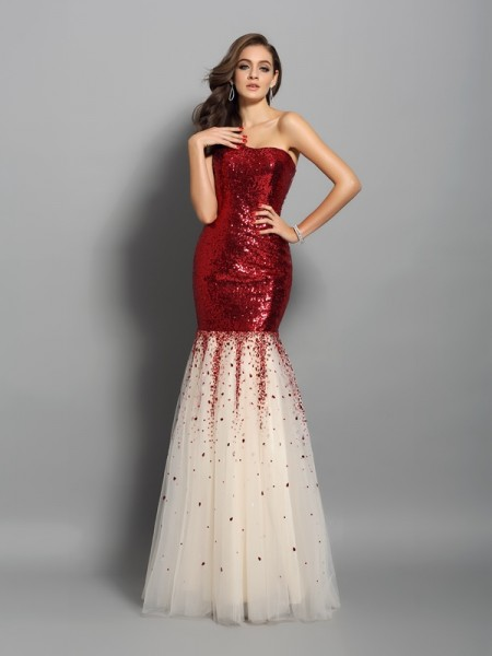 Trumpet/Mermaid One-Shoulder Sleeveless Sequins Long Dresses