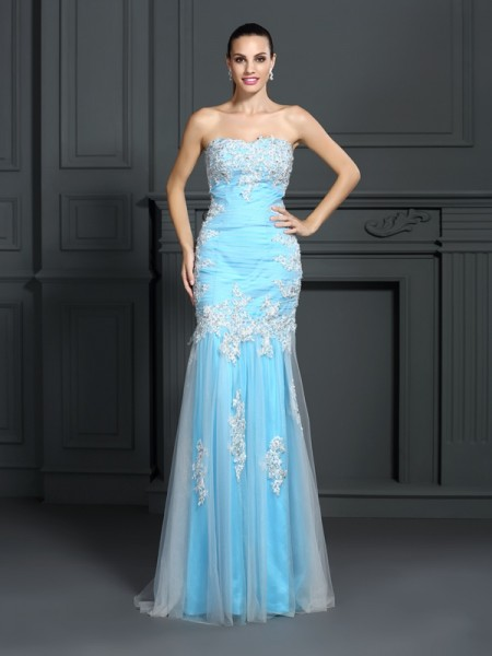 Trumpet/Mermaid Strapless Sleeveless Floor-Length Elastic Woven Satin Prom/Evening Dresses with Applique