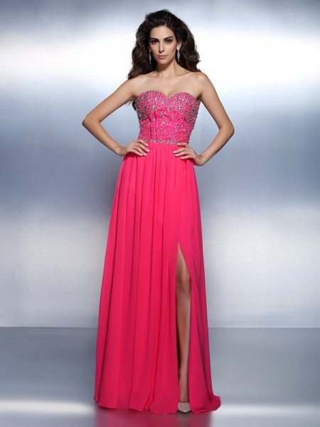 A-Line/Princess Sweetheart Sleeveless Floor-Length Chiffon Prom/Evening Dresses with Beading