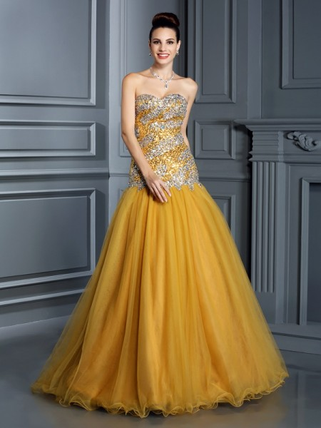 A-Line/Princess Sweetheart Sleeveless Floor-Length Satin Prom/Evening Dresses with Ruffles