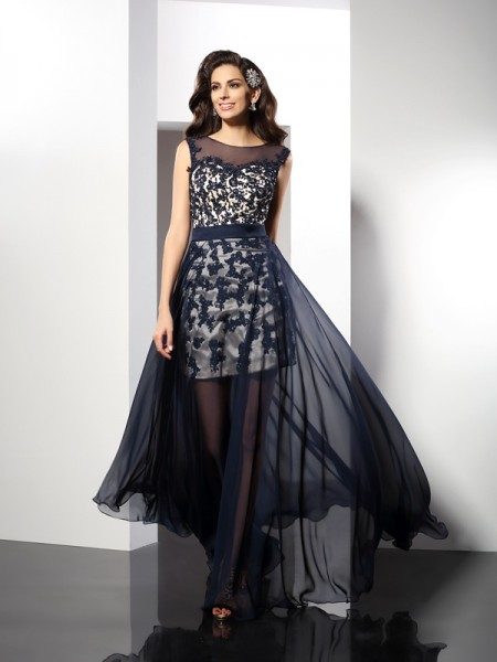 A-Line/Princess Sleeveless Scoop Floor-Length Elastic Woven Satin Evening/Formal Dresses