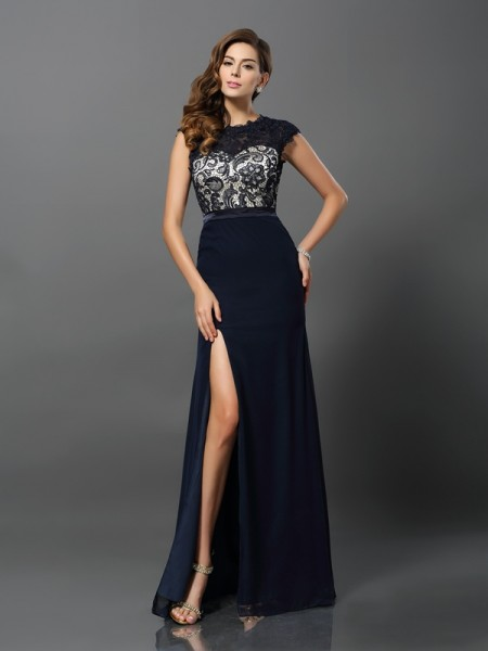Sheath/Column Short Sleeves Chiffon Jewel Floor-Length Lace Prom/Evening Dresses