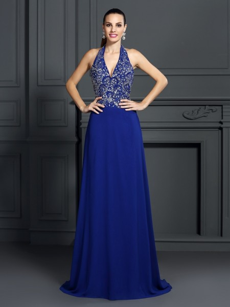 A-Line/Princess Halter Sleeveless Sweep/Brush Train Chiffon Prom/Evening Dresses with Applique
