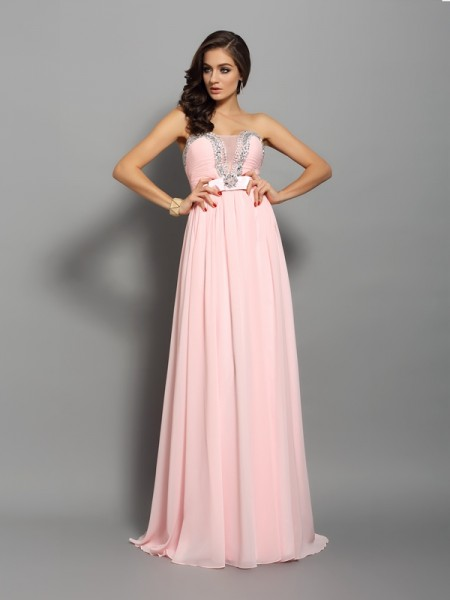 A-Line/Princess Sleeveless Chiffon Sweetheart Sweep/Brush Train Dresses with Beading