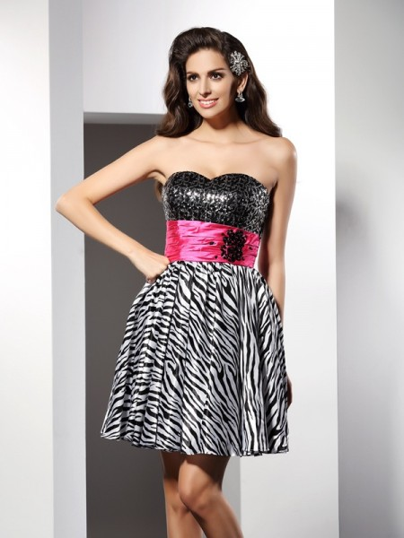 A-Line/Princess Sweetheart Sleeveless Chiffon Short Cocktail/Homecoming Dresses