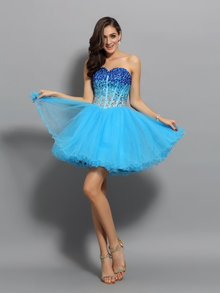 A-Line/Princess Satin Sweetheart Sleeveless Short Cocktail/Homecoming Dresses with Ruffles