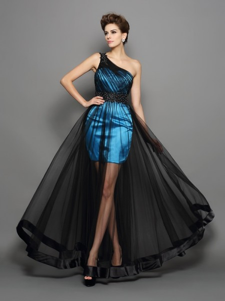 A-Line/Princess One-Shoulder Elastic Woven Satin Floor-Length Prom Dresses with Ruched
