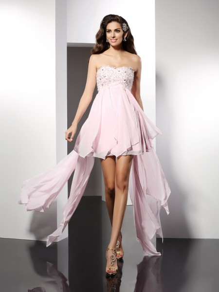 A-Line/Princess Sweetheart Sleeveless Asymmetrical Chiffon Dresses with Applique