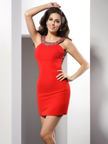 Sheath/Column Scoop Sleeveless Chiffon Short Cocktail/Homecoming Dresses with Beading