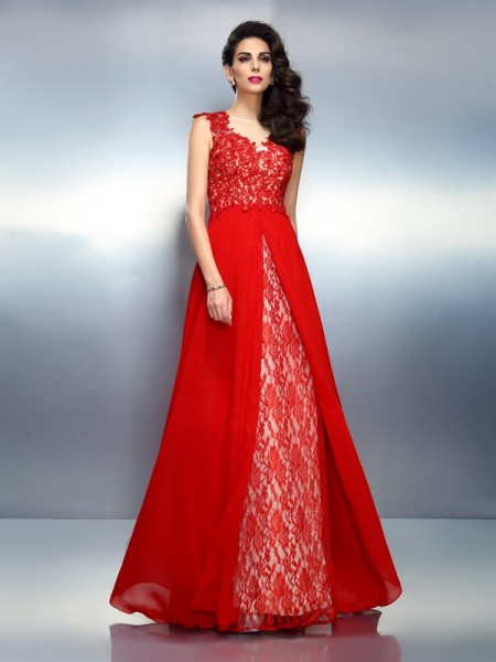 A-Line/Princess Bateau Sleeveless Sweep/Brush Train Net Prom/Evening Dresses with Applique