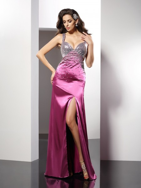 A-Line/Princess Straps Sleeveless Floor-Length Elastic Woven Satin Evening/Formal Dresses with Beading
