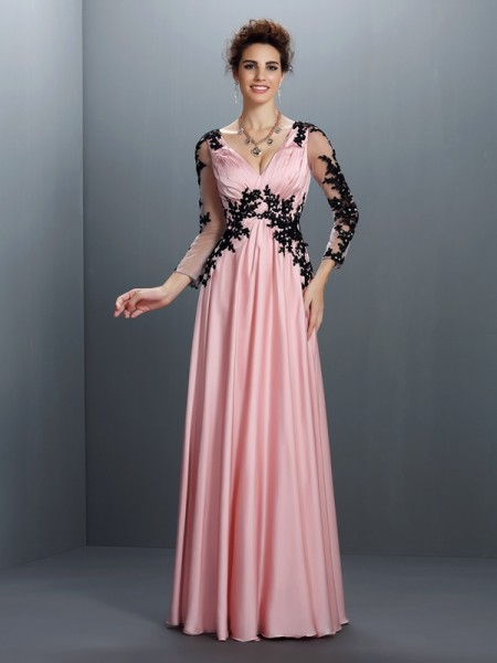 A-Line/Princess V-neck 3/4 Sleeves Floor-Length Chiffon Evening/Formal Dresses with Applique