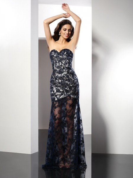 Sheath/Column Sweetheart Sleeveless Floor-Length Lace Satin Evening/Formal Dresses