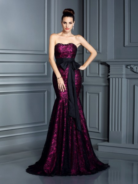 Trumpet/Mermaid Sweetheart Sleeveless Sweep/Brush Train Satin Evening Dresses with Sash/Ribbon/Belt
