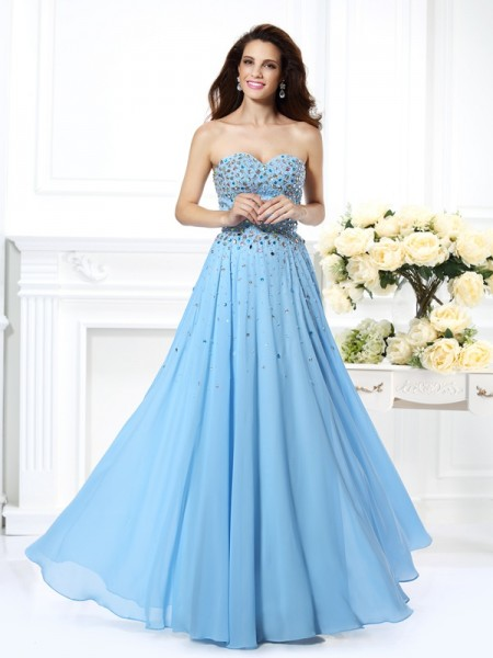 Princess Chiffon Sweetheart Long Prom Dresses with Beading