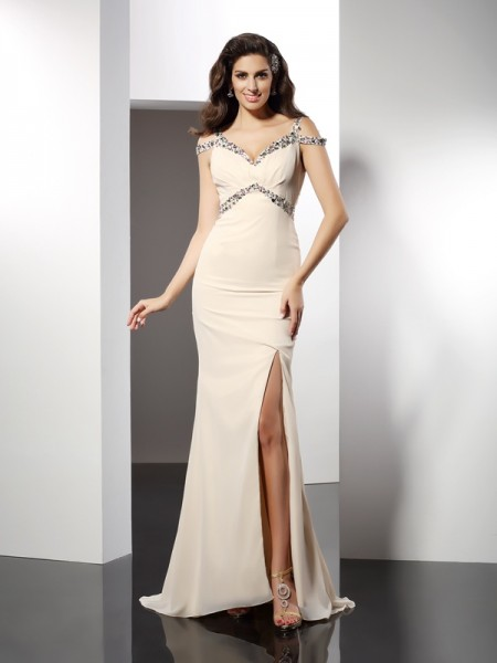 Trumpet/Mermaid Sweetheart Sleeveless Sweep/Brush Train Chiffon Prom/Evening Dresses