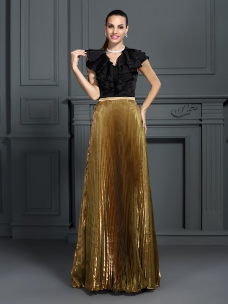 A-Line/Princess V-neck Sleeveless Floor-Length Tulle Prom/Evening Dresses with Pleats