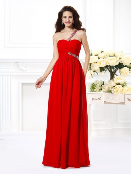 A-Line/Princess One-Shoulder Sleeveless Floor-Length Chiffon Prom Dresses with Beading