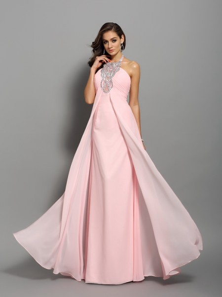 Sheath/Column Sleeveless Chiffon Floor-Length High Neck Dresses with Beading