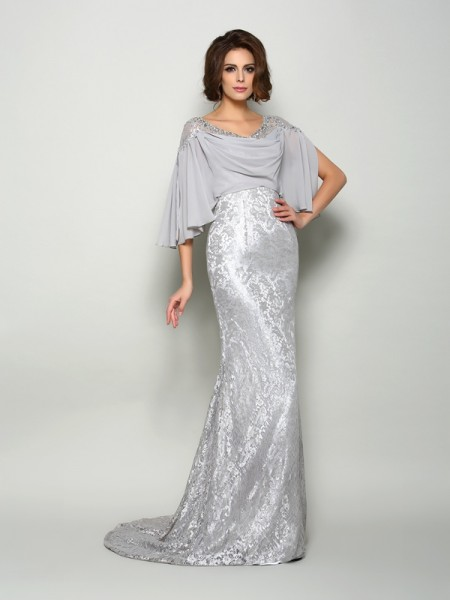 Trumpet/Mermaid Scoop 1/2 Sleeves Chiffon Lace Sweep/Brush Train Mother of the Bride Dresses