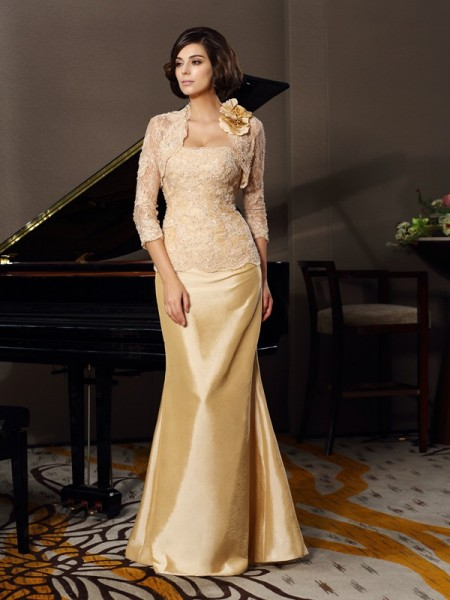 Trumpet/Mermaid Sweetheart Sleeveless Floor-Length Taffeta Lace Mother of the Bride Dresses