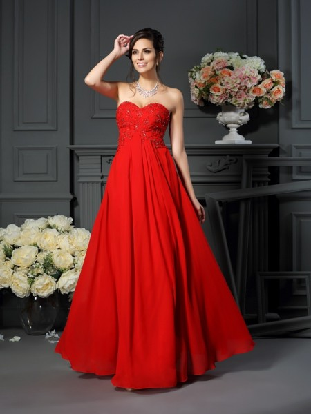A-Line Sweetheart Sleeveless Floor-Length Chiffon Mother of the Bride Dresses with Beading