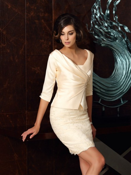 Sheath/Column Sleeveless Strapless Satin Short/Mini Mother of the Bride Dresses with Applique