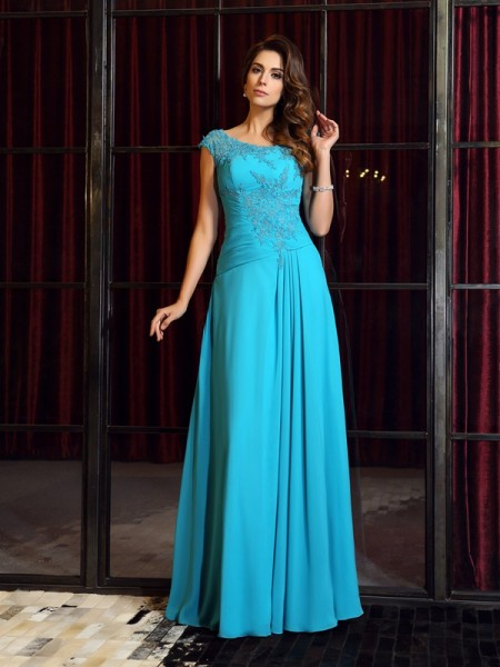 A-Line/Princess Scoop Sleeveless Chiffon Long Dresses with Applique