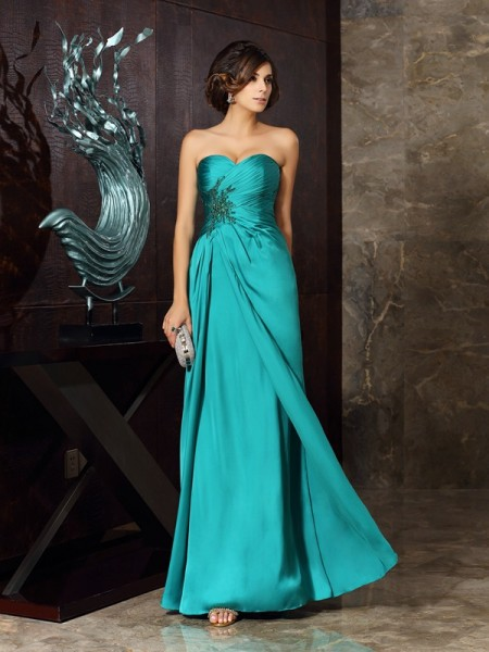 Column Sleeveless Chiffon Sweetheart Floor-Length Mother of the Bride Dresses with Applique with Beading