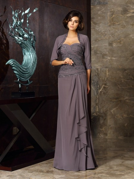 Sheath/Column Sleeveless Chiffon Sweetheart Floor-Length Mother of the Bride Dresses with Applique with Beading