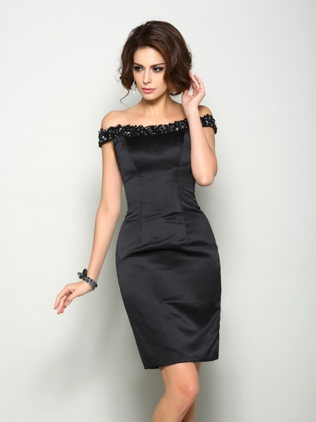 Sheath/Column Sleeveless Off-the-Shoulder Satin Knee-Length Mother of the Bride Dresses with Beading