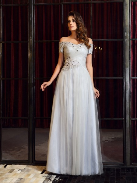 A-Line/Princess Short Sleeves Net Off-the-Shoulder Long Dresses with Applique with Beading