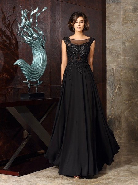 A-Line/Princess Scoop Sleeveless Chiffon Floor-Length Mother of the Bride Dresses with Applique