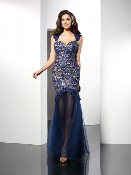 Trumpet/Mermaid Sweetheart Sleeveless Lace Sweep/Brush Train Net Dresses