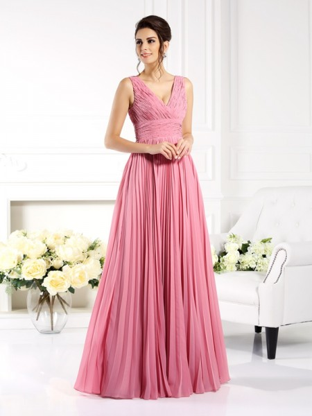 A-Line Sweetheart Chiffon Long Dresses with Pleats