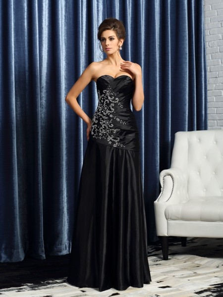A-Line/Princess Sweetheart Satin Sleeveless Floor-Length Mother of the Bride Dresses with Applique with Beading