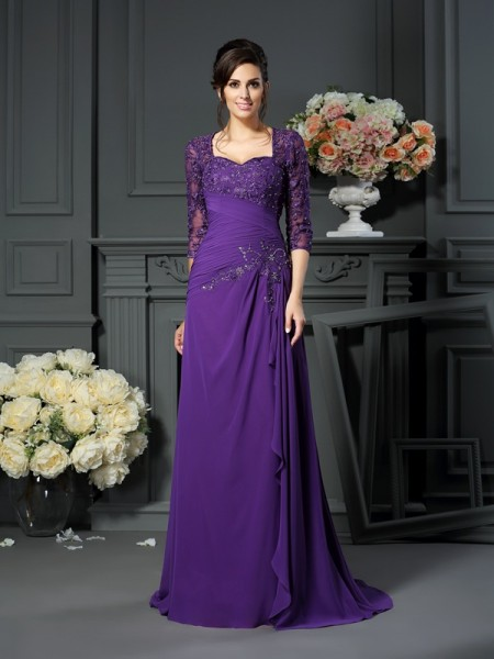 A-Line/Princess Sweetheart 1/2 Sleeves Floor-Length Chiffon Mother of the Bride Dresses with Applique