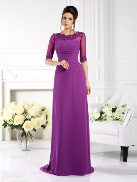 Sheath/Column Scoop 1/2 Sleeves Sweep/Brush Train Chiffon Dresses with Applique