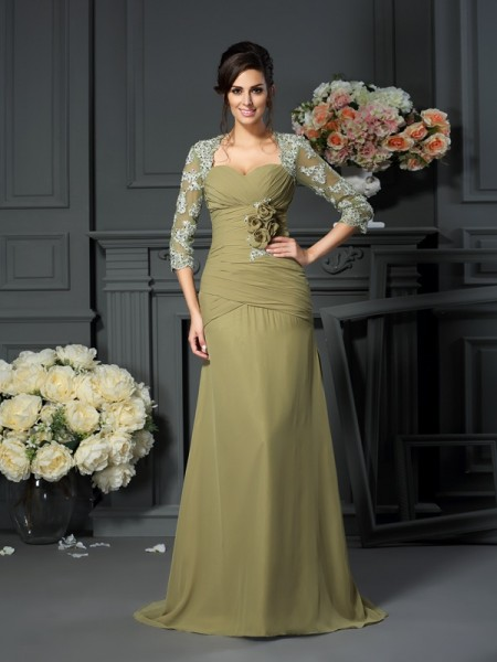 A-Line/Princess Sweetheart 1/2 Sleeves Floor-Length Chiffon Mother of the Bride Dresses with Hand-Made Flower