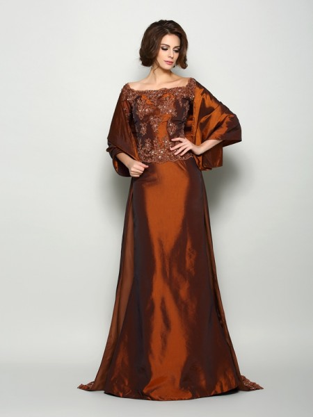 A-Line/Princess 1/2 Sleeves Off-the-Shoulder Taffeta Sweep/Brush Train Mother of the Bride Dresses with Beading