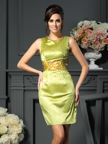 Sheath/Column Scoop Sleeveless Short/Mini Silk like Satin Mother of the Bride Dresses with Beading