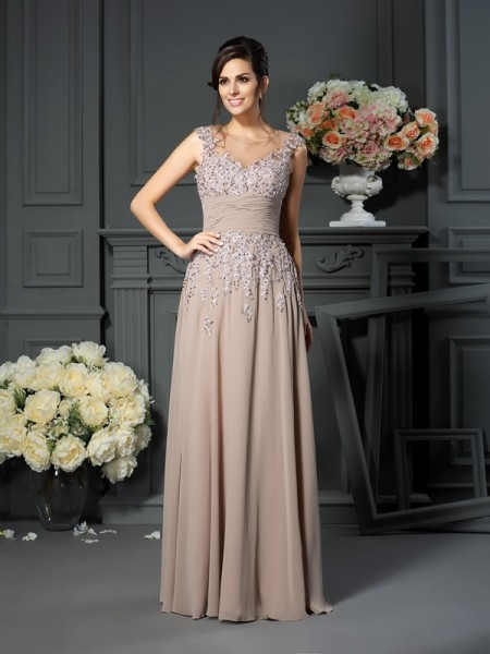 A-Line/Princess Scoop Sleeveless Floor-Length Silk like Satin Mother of the Bride Dresses with Beading