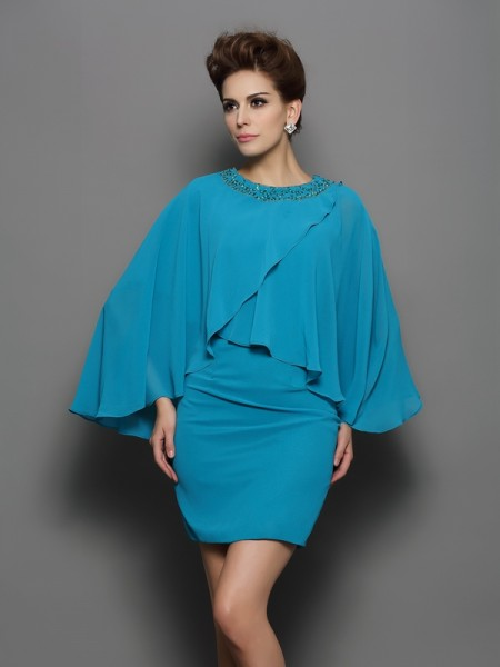 Sheath/Column Scoop Long Sleeves Silk like Satin Short Dresses with Beading