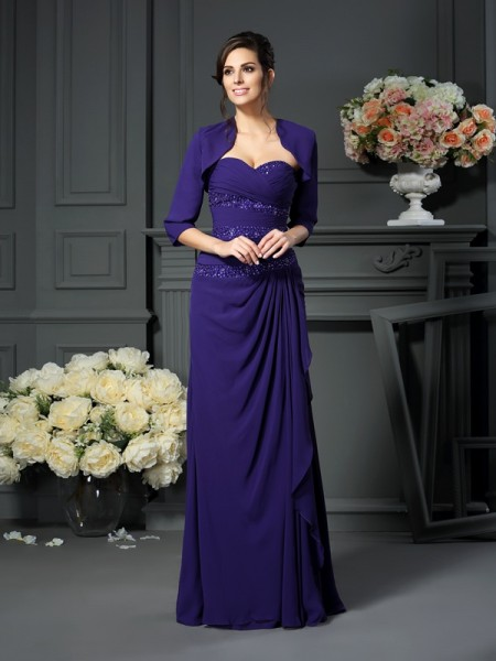 A-Line Sweetheart Floor-Length Chiffon Mother of the Bride Dresses with Beading